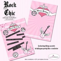 Rock Chic party invitations by I Will Invitations.  Perfect for your little rockstar!  Available as pre-printed invitations now and printables soon
