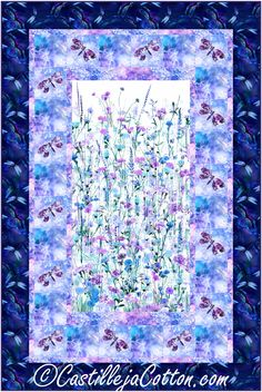 """Floral panel with fusible appliqued dragonflies with alternating plain blocks pieced borders. Panel quilt pattern. Fabric shown in the sample quilt is Hoffman CA Fabrics Garden Bliss Sapphire. Finished Size: Lap/Throw 48"""" x 72"""" Skill Level: Advanced Beginner Technique: Pieced/Fusible Appliqued"""