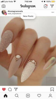Nude Nails, Stiletto Nails, Bridal Nails Designs, Short Square Acrylic Nails, Almond Nails Designs, Wedding Nails For Bride, Instagram Nails, Nail Games, Classy Nails