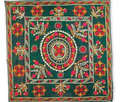 uzbek suzani textiles, silk embroidered on silk foundation, Tashkent region, Uzbekistan, 19th c.