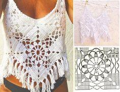 Aprendiendo A Hacer Tops De Grannys ¡¡ Super Sexys ! Crochet Shirt, Crochet Crop Top, Crochet Poncho, Crochet Motif, Diy Crochet, Crochet Summer Dresses, Mode Crochet, Crochet Stitches Patterns, Crochet Woman
