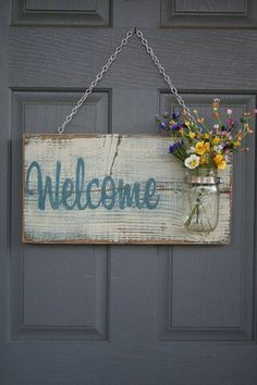 Rustic Outdoor Welcome Sign in blue/white - Wood Signs - Front Door Sign - Rustic Home Decor - Wedding Gift - Home Decor - Custom Sign Wood Projects, Craft Projects, Projects To Try, Fun Diy Projects For Home, Barn Board Projects, Spring Projects, Project Ideas, Pallet Crafts, Wood Crafts