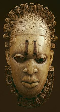 "mask carved from ivory for the ""Oba,"" (King) of Benin, believed to date from the century.African mask carved from ivory for the ""Oba,"" (King) of Benin, believed to date from the century. Africa Art, West Africa, Camouflage Art, Living Puppets, Contemporary African Art, Atelier D Art, African Sculptures, Art Premier, Masks Art"