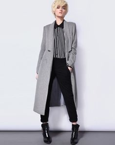 Abrigo solapa con muesca manga larga-gris 38.16