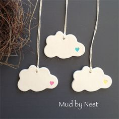 Clay Tags - Mud Clouds {set of 3}   mud by nest   madeit.com.au