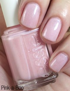 "Essie Color…""pink-a-boo."" A sheer, cool-toned milky pink base with color-shifting glass fleck shimmer. Divine."
