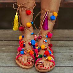 Bohemian Pom Pom Sandals Elyseum Lace up by SandalsofLove