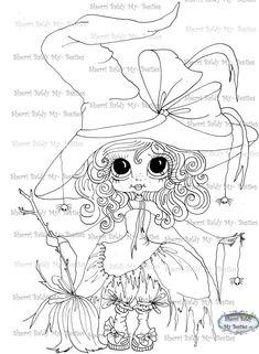 INSTANT DOWNLOAD Digital Digi Stamps Big Eye Big Head Dolls Digi  My - Besties Spider Ella  IMG046 By Sherri Baldy