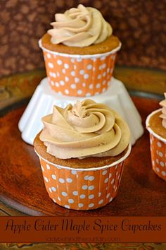 its fall, so apple cider maple spice cupcakes are a must! perfect for a fall tailgate or get together!