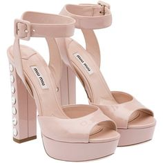 Miu Miu Sandals ($1,400) ❤ liked on Polyvore featuring shoes, sandals, heels, pale pink, leather sole shoes, heel platform shoes, swarovski crystal shoes, rubber platform shoes and platform shoes