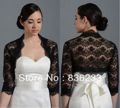Decent Black Lace 3/4Sleeves Shrug Wrap Bridal Jacket Bolero Shawl Coats Wedding Dress