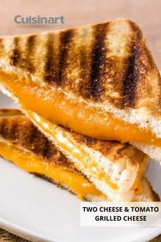 There's no better way to celebrate #NationalGrilledCheeseDay than with our classic Two Cheese and Tomato Grilled Cheese recipe! Pull out our Griddler FIVE, set it to the Open Griddle position and get cooking. When you're all done, cleanup is a breeze as the plates are easily removable. #lunchrecipes #kidfriendlyrecipes #cuisinart #savorthegoodlife #grilledcheeserecipe