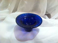 Glass Votive in Deep Blue Hand Blown Glass.  Cobalt by MoltenColor, $18.00