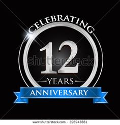 Celebrating 12 years anniversary logo. with silver ring and blue ribbon. - stock vector