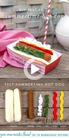 Fabriquez ce classique de l'été préféré pour la collection de feutrine de votre enfant! Comprend un modèle et un didacticiel pour un hot-dog en feutre, des garnitures en feutre et un plateau de hot-dog en papier. Diy For Kids, Crafts For Kids, Felt Food Patterns, Loom Patterns, Crafts To Make, Diy Crafts, Felt Play Food, Kids Play Food, Pretend Food