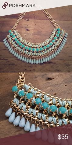 Blue Embellished Goldtone Statement Necklace New without tags Jewelry Necklaces