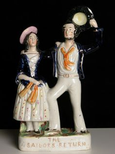 'The Sailors Return' Staffordshire Pottery figures c.1830-1870