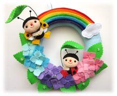 ra_raハンドメイド紫陽花てんとう虫虹のリースフェルト インテリア 雑貨 Handmade interior goods ¥1600yen 〆05月11日