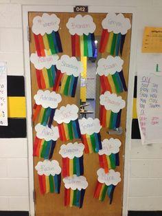 rainbow classroom door decor by justmelaura Classroom Door, Classroom Design, Kindergarten Classroom, Future Classroom, Classroom Themes, Classroom Organization, Classroom Ceiling Decorations, Rainbow Room, Rainbow Theme