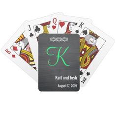 Classy Rustic Black Chalk Chalkboard Monogram Playing Cards - rustic gifts ideas customize personalize