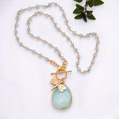 Lariat Necklace  March Birthstone  Aqua Blue von delezhen auf Etsy, $89,00