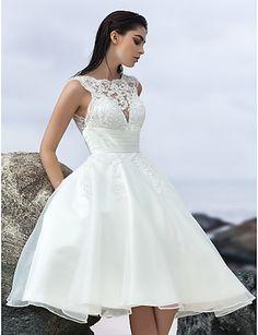 Lanting A-line Wedding Dress - Ivory Knee-length Jewel Organza 2016 - $138.99