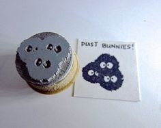 """Soot sprites Dust Bunnies - Totoro Inspired Soot Sprites Rubber Stamp Small 0.75"""""""
