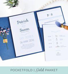 Pocketfold pakket gold een luxe uitnodiging voor je trouwkaart met 3 bijkaartjes en sluitstickers geheel gemaakt in dezelfde huisstijl. www.charlyfine.nl