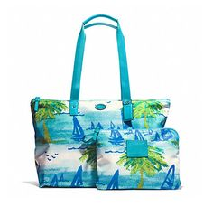 Save on the Coach - Packable Tote In Beach Scene Blues Nylon Weekend/Travel Bag! This travel bag is a top 10 member favorite on Tradesy. Blue Handbags, Coach Handbags, Weekend Travel Bag, Crossbody Bag, Tote Bag, Weekender Tote, Beach Scenes, Pouch Bag, Blue Bags
