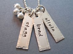 Tyler, Eli, Alex                               Hand Stamped Necklace  Personalized Hammered Edge by hiphophippos