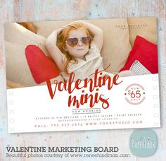Valentine Marketing Board -  Mini Sessions - Photoshop template - IV013 - INSTANT DOWNLOAD