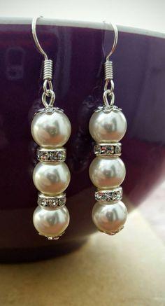 Pearl earrings, white pearl earrings, rhinestone earrings, bridal, mother of the bride, bridal earrings, wedding jewellery, gifts for her by Warrendertreasures on Etsy
