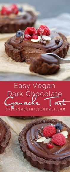 Raw Vegan Dark Chocolate Ganache Tart. The easiest raw tart ever, and so tasty you won't need to know how to store it, it won't last that long in your house! A rich, creamy, chilled dessert that you will be proud of, and best of all, will make you feel great with all the protein, …