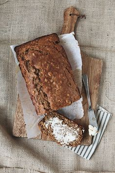 Banana Oat Bread    1 stick butter (1/2c), melted  1/2c pure maple syrup  2 eggs  4 very ripe bananas  1/2 c buttermilk  1 tsp vanilla  2c whole wheat flour  1c whole oats (not instant)  1/4 c ground flax seed  1 tsp baking soda  1 tsp salt
