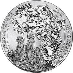2016 Rwanda Silver African Meerkat 1oz Bullion Coin