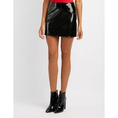 Charlotte Russe Faux Patent Leather Mini Skirt ($15) ❤ liked on Polyvore featuring skirts, mini skirts, black, zipper mini skirt, a line mini skirt, zip back skirt, short skirt and short mini skirts