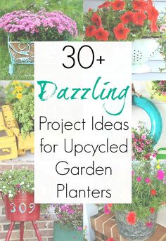 There are SO many vintage items that can be repurposed or upcycled into garden planters and garden pots, and this collection of upcycling ideas will have you looking at everything you own in a new light. From thrift store finds to curbside freebies...and to everything in your garage and attic: Turning them into unique planters is easier than you think! #gardendecor #gardenplanters #flowerbox #upcycled #upcycledplanters #vintage #flowerpots