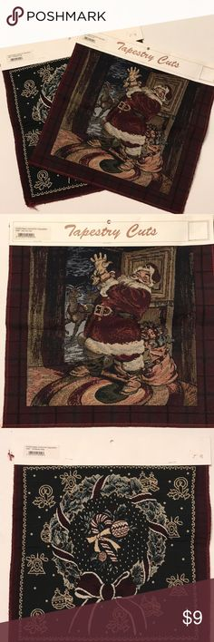 Christmas Tapestry Squares Set of two Christmas tapestry squares for crafting. One is Santa and the other is a wreath. 13 x 13 inches each.  Posh3 Tapestry Cuts Other