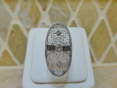 Antique Art Deco platinum 18k white gold diamond filigree oblong cocktail ring #Handcrafted #Largeovaloblongfiligreecocktail