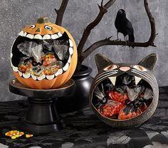 Black Cat & Pumpkin Paper Mache Treat Vessels #pbkids