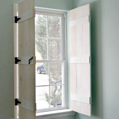 If you're looking for an alternative to curtains, learn how easy it is to make Indoor Farmhouse-style Shutters for your kitchen - Create & Babble featured on Kenarry.com
