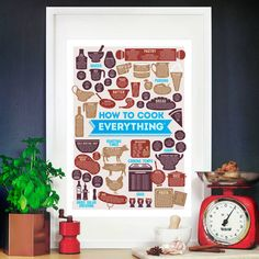 How To Cook Everything A2 Kitchen Print, £14.75