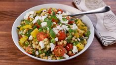 It's topped with tomatoes, green onions, basil, goat cheese and more. Roasted Vegetable Soup, Roasted Tomato Salsa, Roasted Tomatoes, Roasted Vegetables, Chicken Blt, Butter Chicken, Chocolate Malt Cake, Couscous Salad, Pearl Couscous