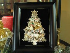 Framed Vintage Jewelry Christmas Tree Snowmen and Snowflakes Repurposed Altered OOAK Collage Art by SunnyDayVintage.com