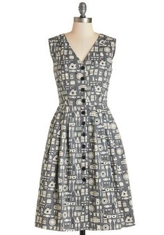 Give It Your Best Guest Dress in Kitchen. Flaunt this vintage-inspired dress from hard-to-find British brand Emily and Fin for an easy win no matter the occasion! #grey #modcloth