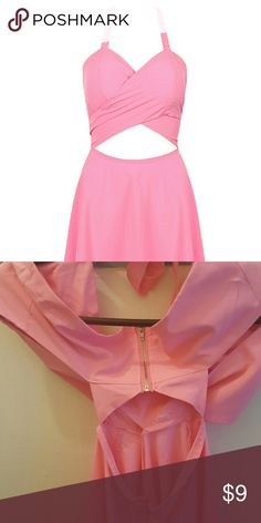 Pink Cut Out Wrap Front Wrap around in the dront,stomach will be partially out,there are two zippers in the back and back will be partially out as well.  Super light,comes with breast pads. Great for a summer barbecue or day/night out on the town. choices  Dresses Mini