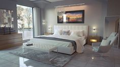 White modern bedroom / Modani / affordable contemporary furniture and decor