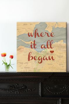 Where in the world did your love story begin? (Gorgeous personalised map canvas by @geezees) #weddings #gifts