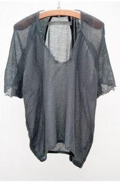 Raquel Allegra Summer 13 | Black Deconstructed Shoulder Tee | $225