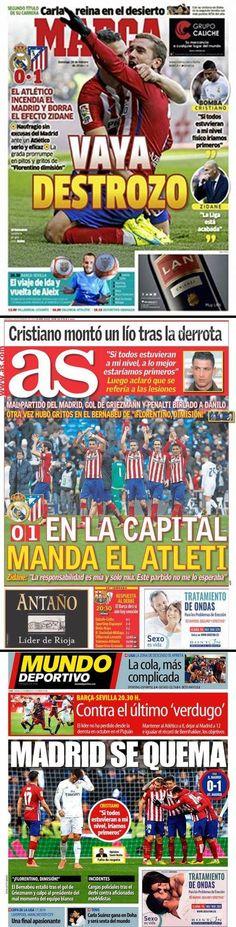 LIGUA 2015-2016. Real Madrid 0 - Atletico de Madrid 1 (27/02/16). El Atletico es el primer equipo en la historia que gana tres años seguidos al Madrid en su campo. Gol de Griezmann.